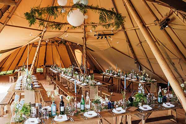 A tipi interior by Buffalo Tipi