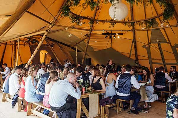 Wedding breakfast in the tipi