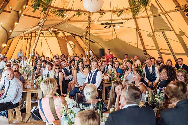 A tipi wedding breakfast
