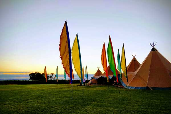 Festival flags with Tipi