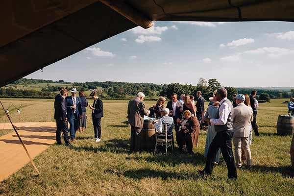 Guests enjoying the views of the Cotswold Field of Dreams