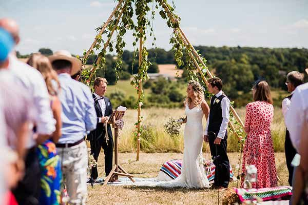 An outdoor ceremony taking place on the Cotswold Field of Dreams
