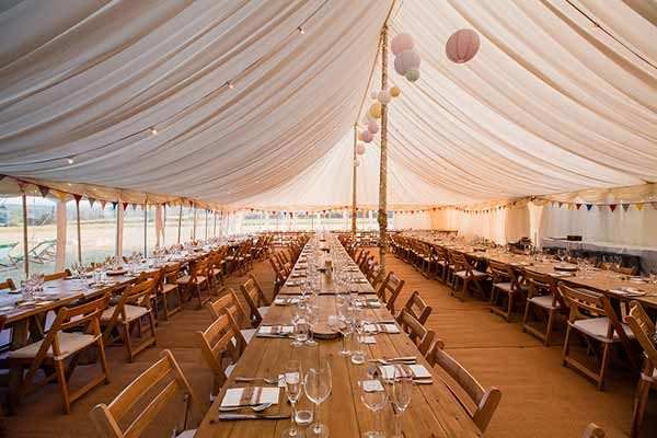 Interior of a traditional pole marquee with lining