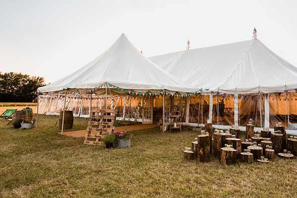 Traditional Pole Marquee with lots of personal decorative detail
