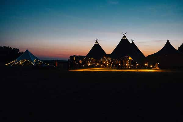 Beautiful tipi sunset at the Cotswold Field of Dreams